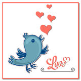 Valentines heart and blue bird. Postcard, Frame Lettering with Valentines heart and blue bird  Vector illustration Cartoon style  can be used for printed Royalty Free Stock Photo