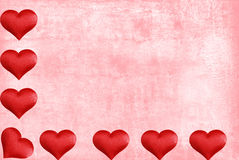 Valentines heart border with watercolor paper Stock Images