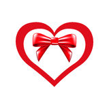Valentines heart and bow Stock Photos