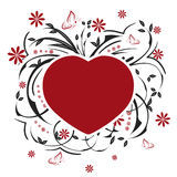 Valentines heart, butterflies and floral pattern Royalty Free Stock Images