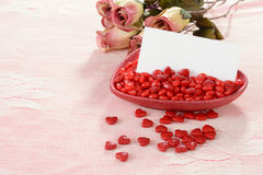 Valentines heart candies with blank card Stock Image