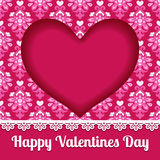 Valentines heart card lace design vector Stock Image