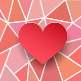 Valentines heart card. Paper texture 3d. Red heart on abstract geometric backgrounds. Vector illustration Stock Image