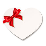 Valentines heart card with red bow. Vector illustration. Royalty Free Stock Photo