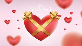 Valentines heart. Decorative love balloons pink background with hearts and gold silk ribbon royalty free illustration