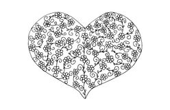 Valentines heart filled with flower pattern. Valentines heart black and white illustration, filled with flower pattern. Design for crayoning Royalty Free Stock Images