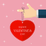 Valentines heart on the finger Stock Photography