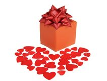 Valentines heart and gift box Stock Images