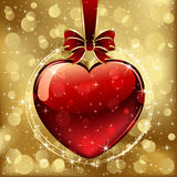 Valentines heart on golden background Royalty Free Stock Photo