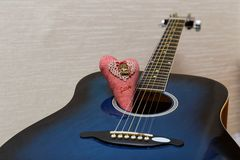 Valentines heart and guitar Royalty Free Stock Photo