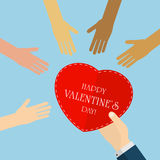 Valentines heart and hands Royalty Free Stock Images