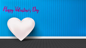 Valentines heart in interior room blue wall background . Vector illustration Royalty Free Stock Photo