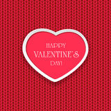 Valentines heart on knitted pattern Stock Photos