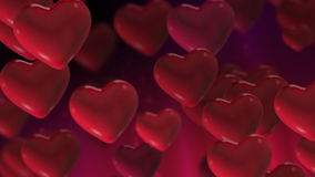 Valentines Heart Loop 2. Seamlessly loopable animation of floating hearts stock footage