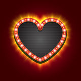 Valentines Heart Neon Lights Frame for Romantic Design. Vector illustration. Stock Photos