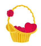 Valentines heart and roses in a basket. Romantic gift of love illustration,vector stock illustration