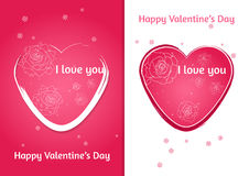 Valentines heart. Set of two Valentine`s Day card with blurred background. Royalty Free Stock Photos