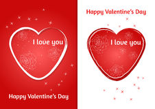 Valentines heart. Set of two Valentine`s Day card with blurred background. Stock Image