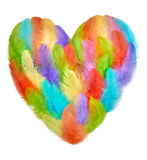 Valentines Heart shaped made of colorful feathers Stock Photos