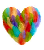 Valentines Heart shaped made of colorful feathers Royalty Free Stock Images