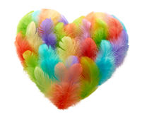 Valentines Heart shaped made of colorful feathers Stock Images