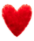 Valentines Heart shaped made of Red feathers Stock Photo