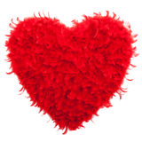 Valentines Heart shaped made of Red feathers Stock Photos