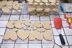 Valentines Heart Sugar Cookies in Kitchen with Spatula. Stock Image