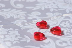 Valentines Hearts. Valentine Red glass beads Royalty Free Stock Images