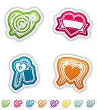 Valentines Hearts. Valentine time concept icons depicting different love issues, from left to right, top to bottom Royalty Free Stock Image