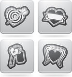 Valentines Hearts. Valentine time concept icons depicting different love issues, from left to right, top to bottom Stock Image