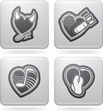 Valentines Hearts. Valentine time concept icons depicting different love issues, from left to right, top to bottom Royalty Free Stock Photo