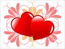 Valentines hearts Background. A valentines day background of two large red hearts in the centre of the page with a uniform pattern of pink leaves on a white Stock Photography