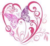 Valentines Hearts with butterfly. Vector  Stock Photos
