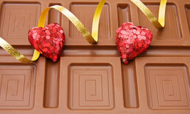 Valentines hearts and chocolate Royalty Free Stock Photography