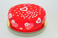 Valentines hearts and flowers cake Stock Photo