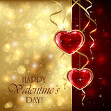 Valentines hearts on golden background Royalty Free Stock Photos