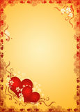 Valentines hearts in golden blank Stock Images