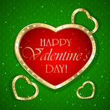 Valentines hearts on green background Stock Photography
