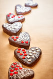 Valentines Hearts Handmade chocolate cakes on parchment Royalty Free Stock Photo