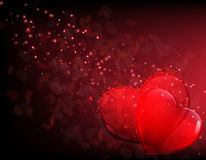 Valentines hearts and mystical sparks Stock Images