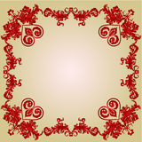 Valentines Hearts and ornaments vintage frame vector Royalty Free Stock Images