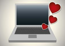 Valentines hearts over a laptop computer Stock Photography