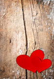 Valentines Hearts over Wood Royalty Free Stock Image