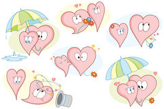 Valentines_hearts_pack. Vector illustration with valentine's day hearts in situations Royalty Free Stock Images