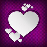Valentines hearts on patterned background Stock Image