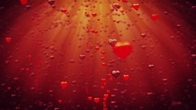 Valentines Hearts raising against red. Stock footage stock video