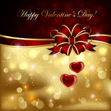 Valentines hearts with red bow Royalty Free Stock Photography