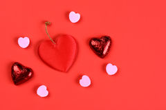 Valentines-hearts-on-red Royalty Free Stock Photo