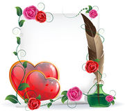 Valentines hearts, roses and  paper Stock Images